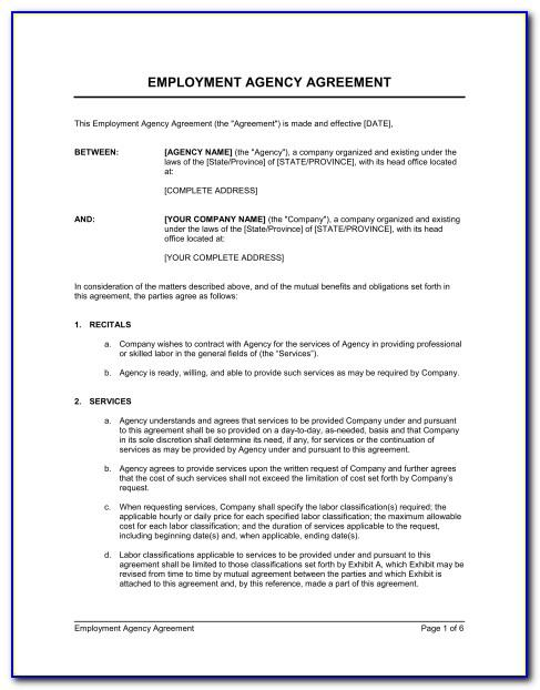 Recruitment Agency Contract Template Uk