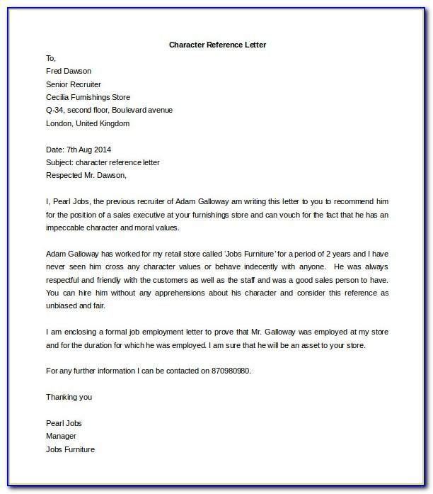 Reference Letter Format Free Download