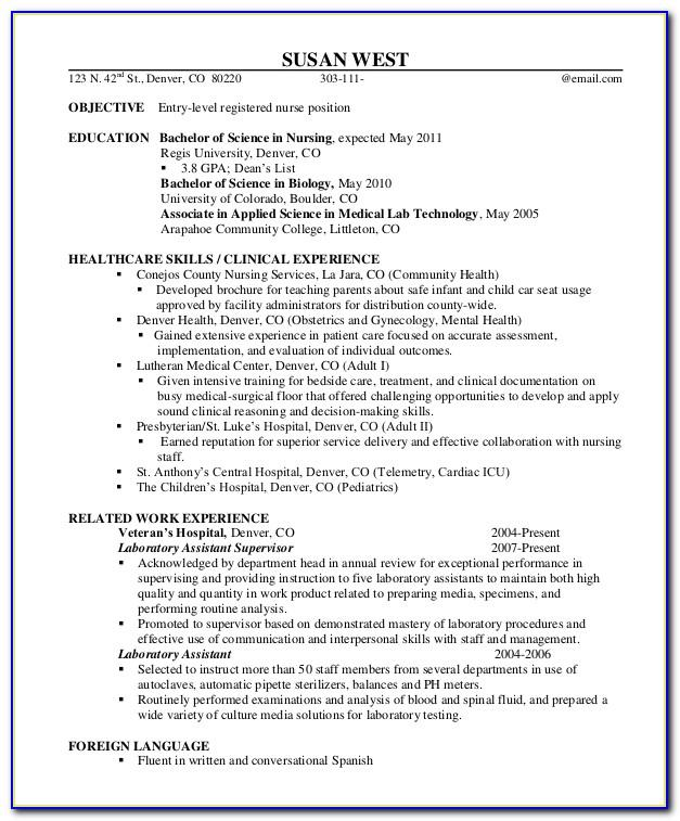 Registered Nurse Cv Template Free