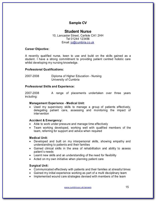 Registered Nurse Cv Template Nz
