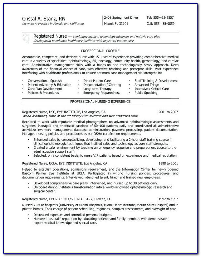Registered Nurse Cv Template Uk