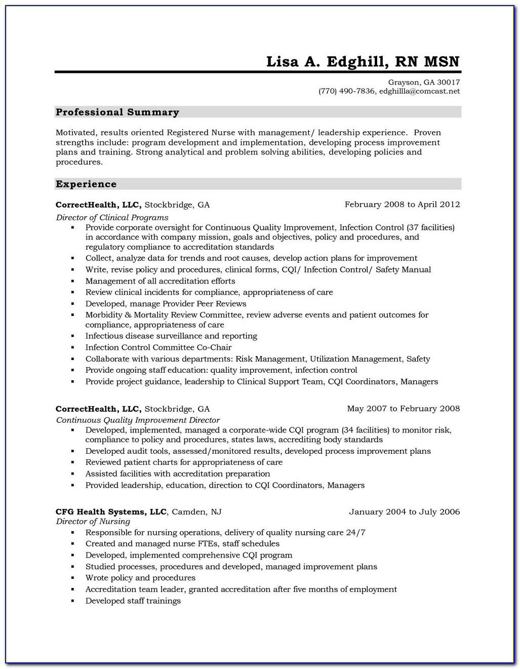 Registered Nurse Cv Template