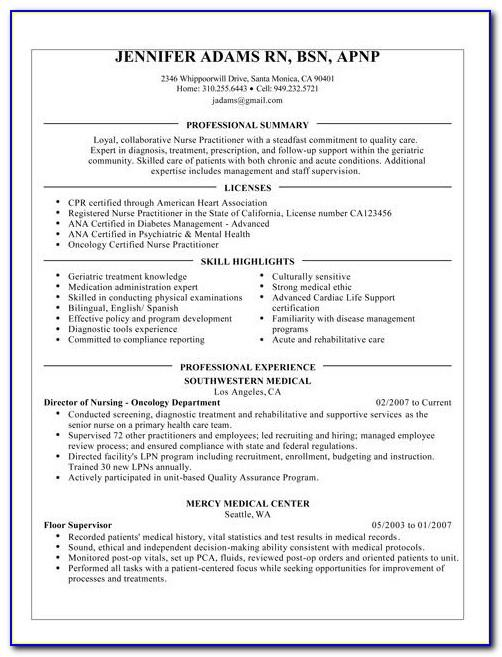 Registered Nurse Resume Sample Format Download