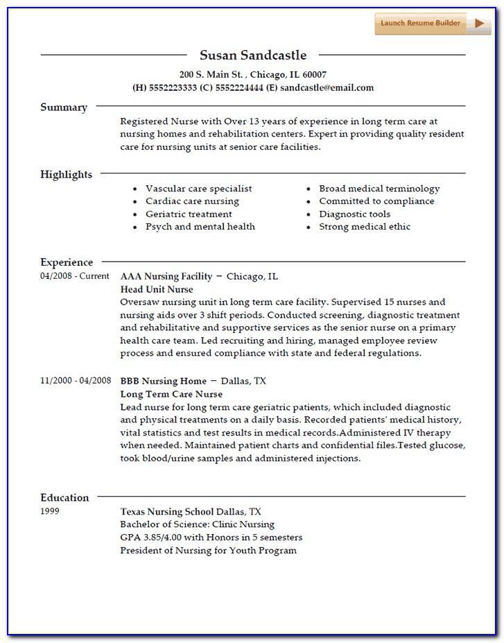Registered Nurse Resume Sample Uk