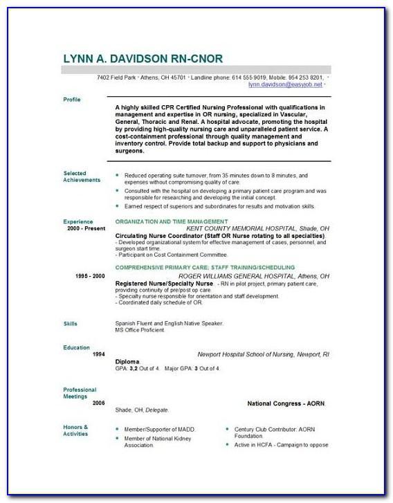 Registered Nurse Resume Template Free