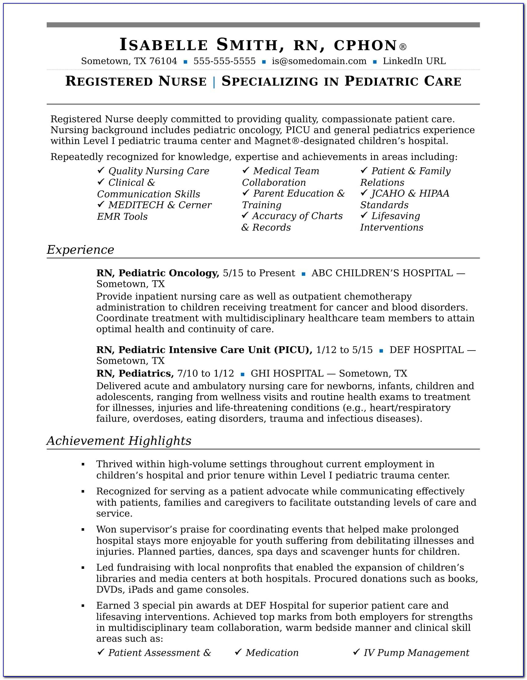 Registered Nurse Resume Template