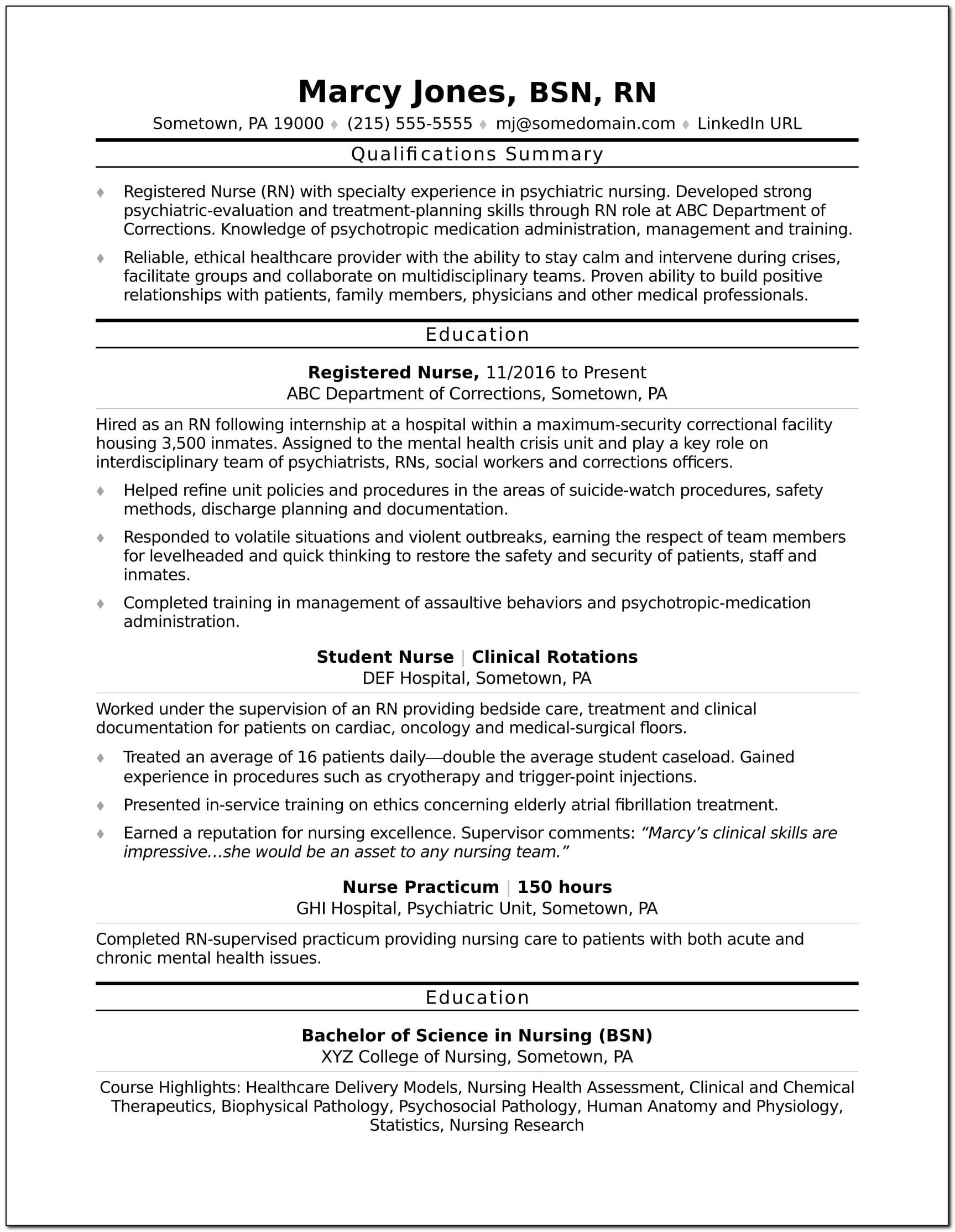 Registered Nurse Resumes Templates