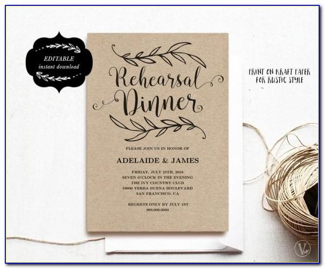 Rehearsal Dinner Invitation Format