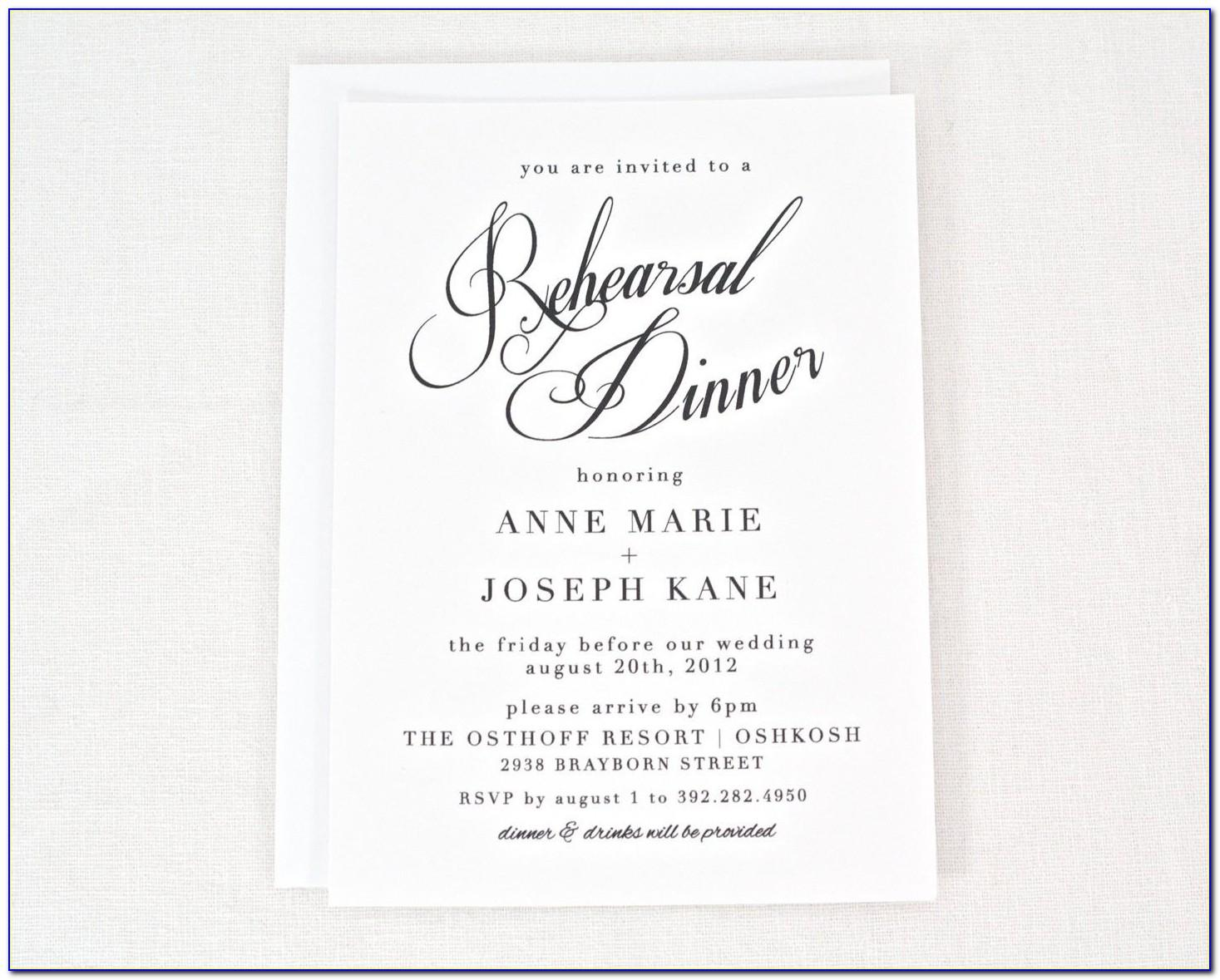 Rehearsal Dinner Invitations Templates