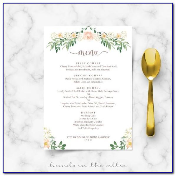 Rehearsal Dinner Menu Template Free