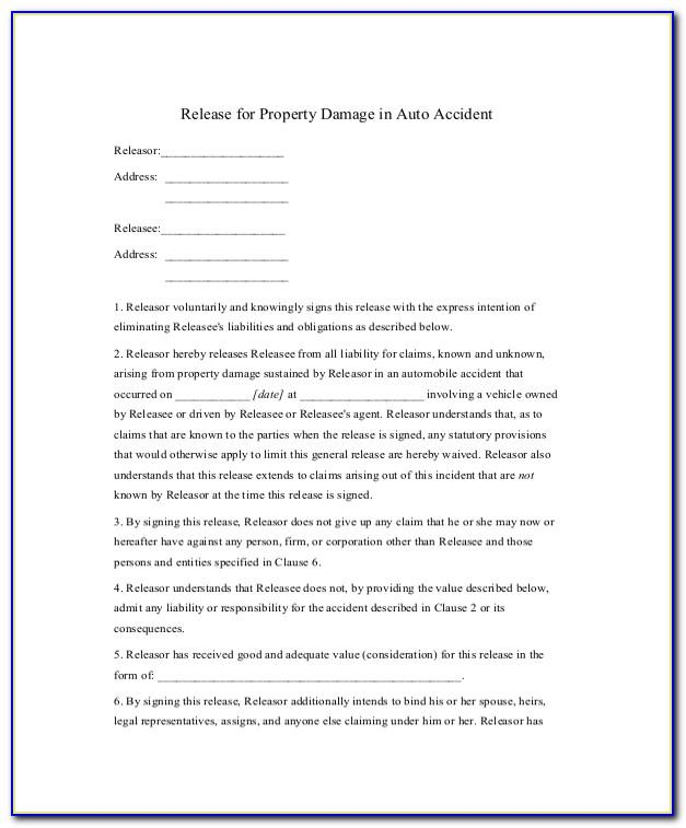 Release Of Liability Document Template