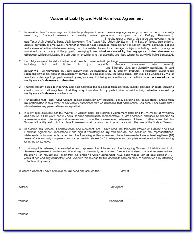 Release Of Liability Forms Free