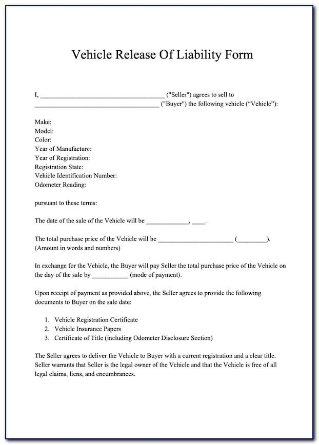 Release Of Liability Letter Template