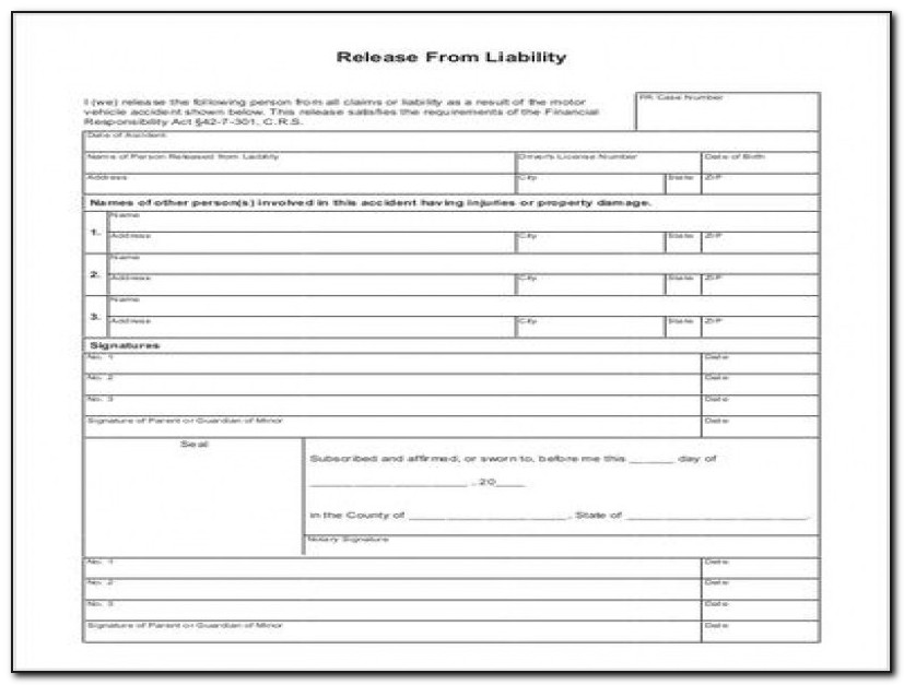 Release Of Liability Template Car Accident