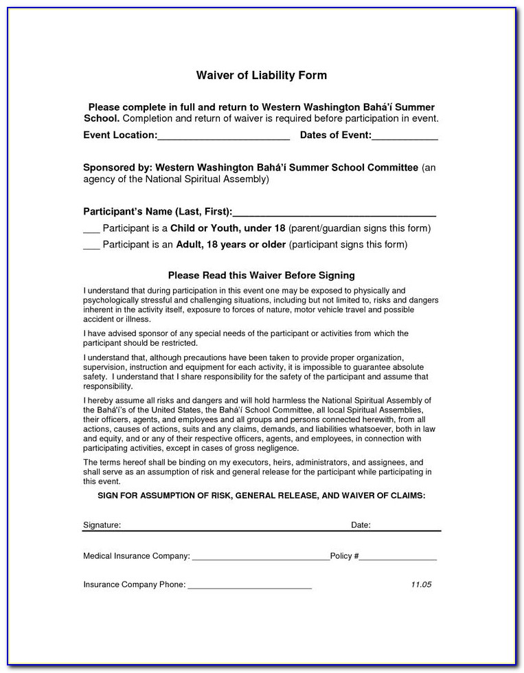 Release Of Liability Template Pdf