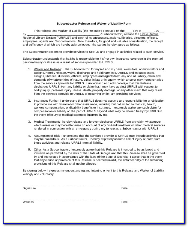 Release Of Liability Word Document