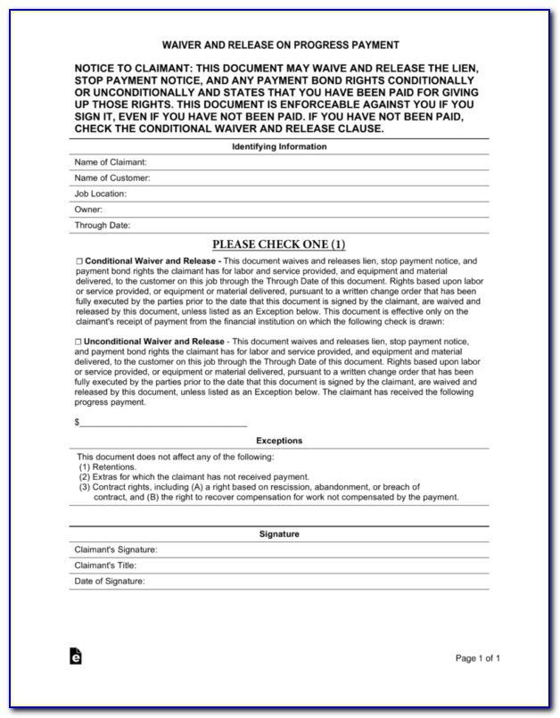 Release Of Lien Form Illinois