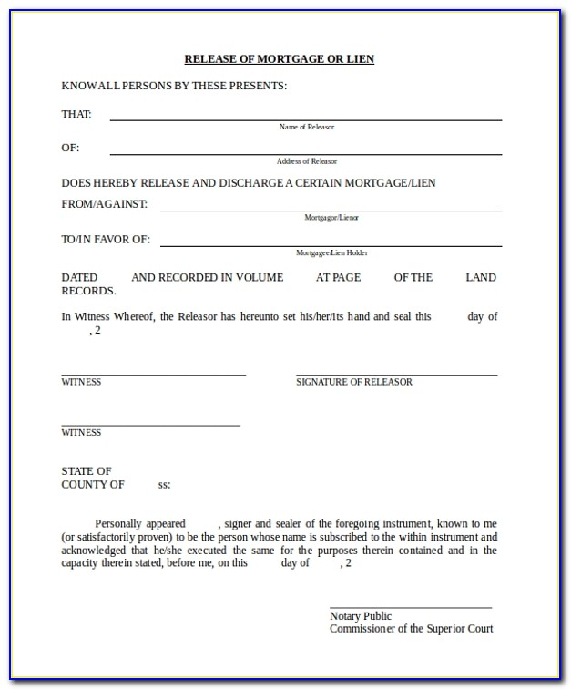 Release Of Lien Form Michigan