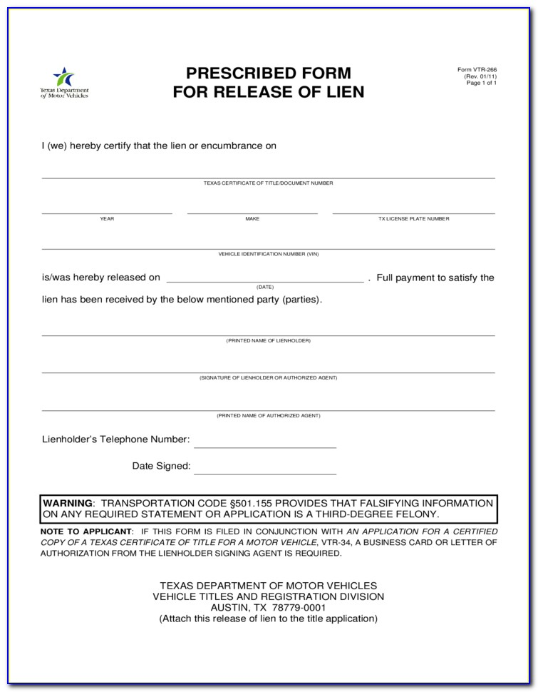 Release Of Lien Form Texas