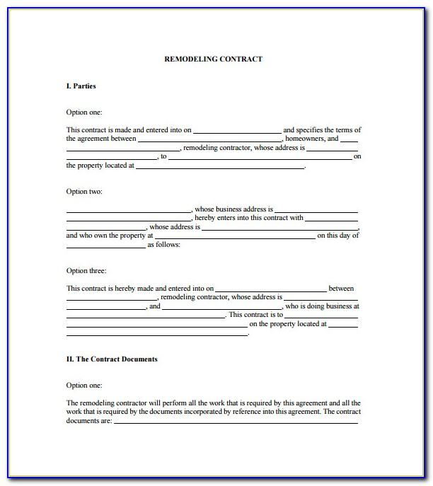 Renovation Contract Template Canada