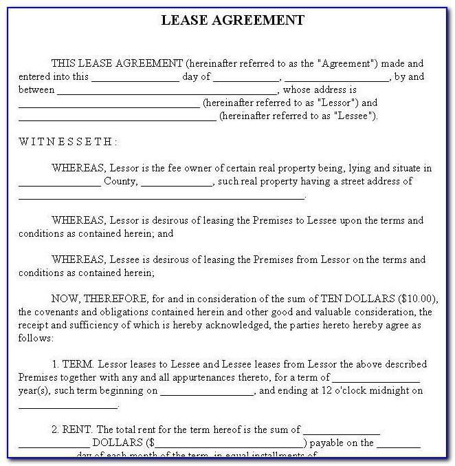Rent Lease Agreement Template Ireland