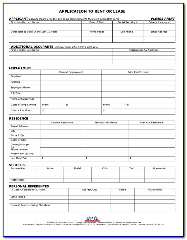 Rental Application Form California Pdf
