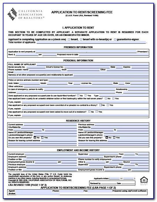 Rental Lease Agreement Form California
