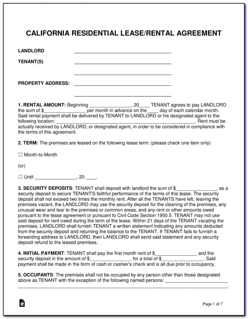 Rental Lease Agreement Form Texas