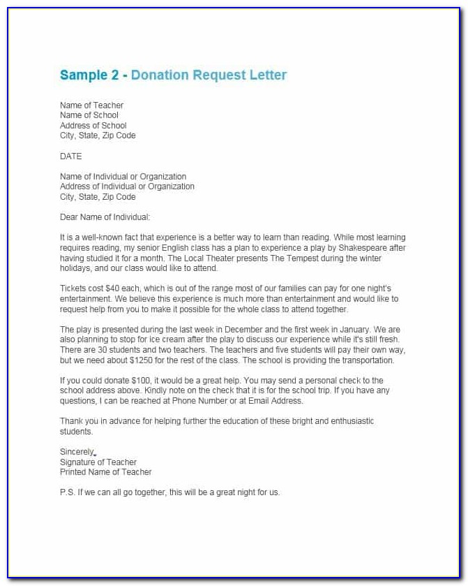 Request For Contributions Sample Letter