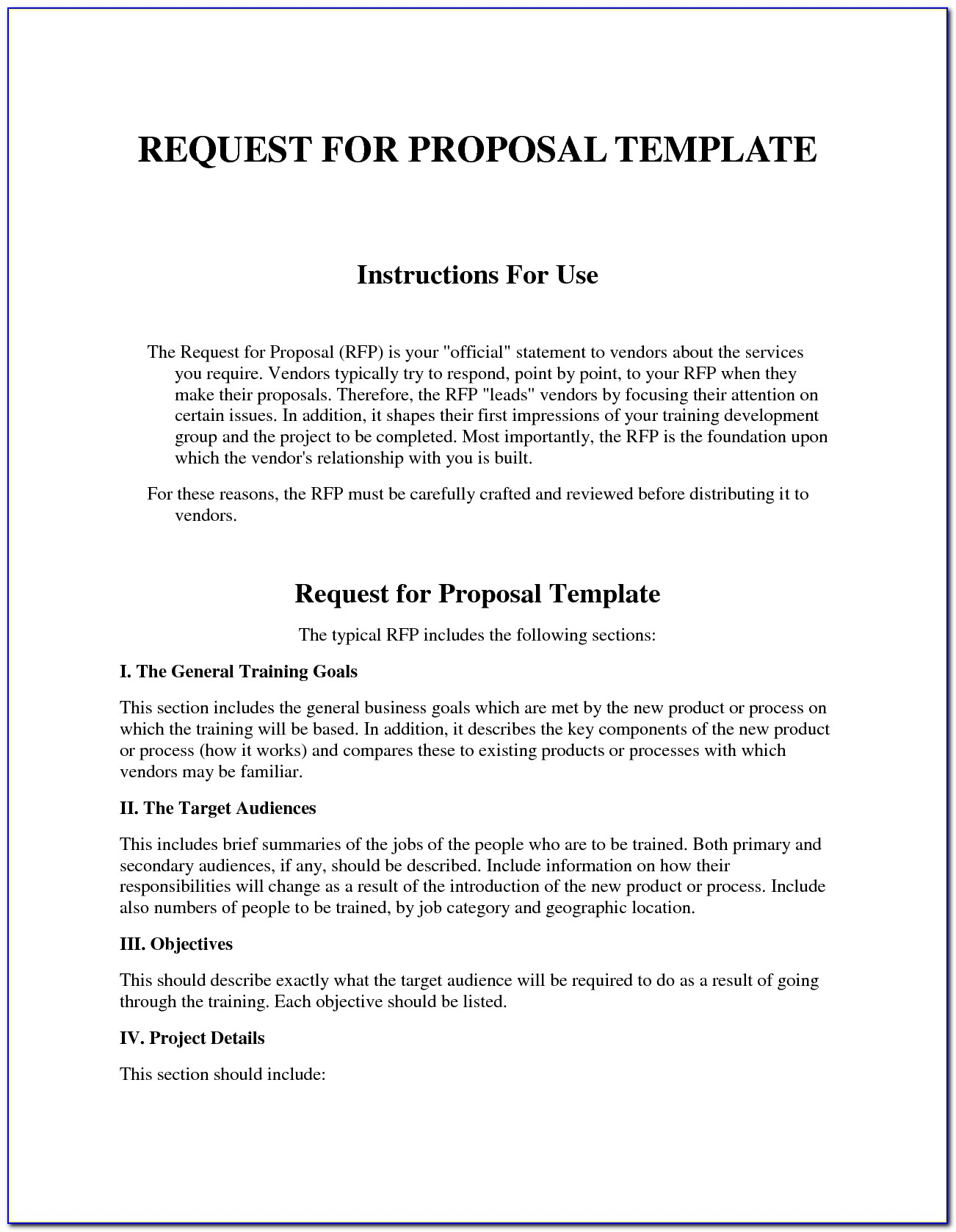 Request For Proposal Response Word Template