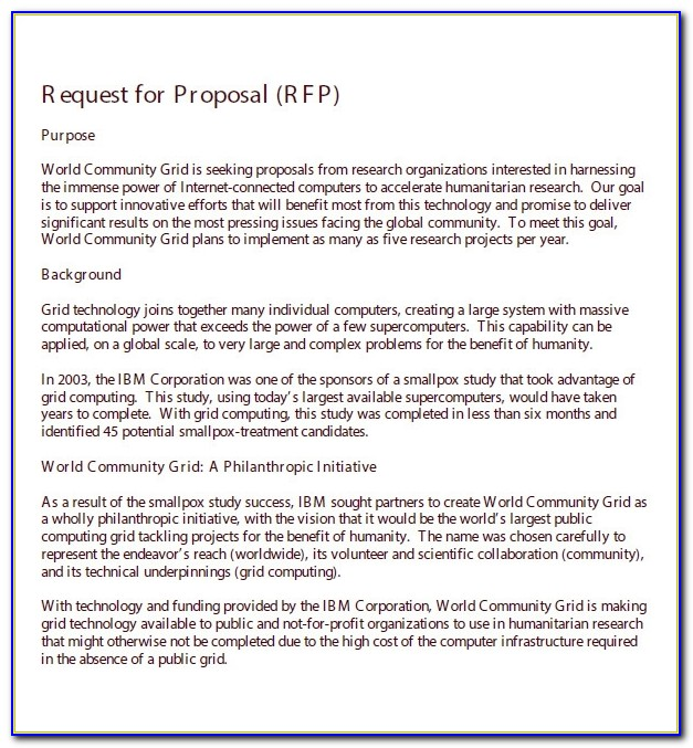 Request For Proposal Template World Bank