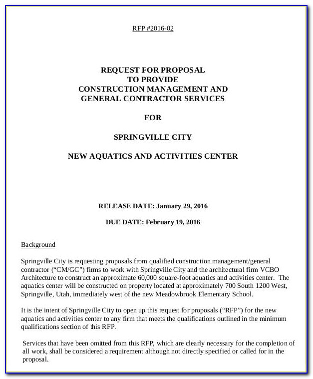 Request For Proposals (rfp) Document
