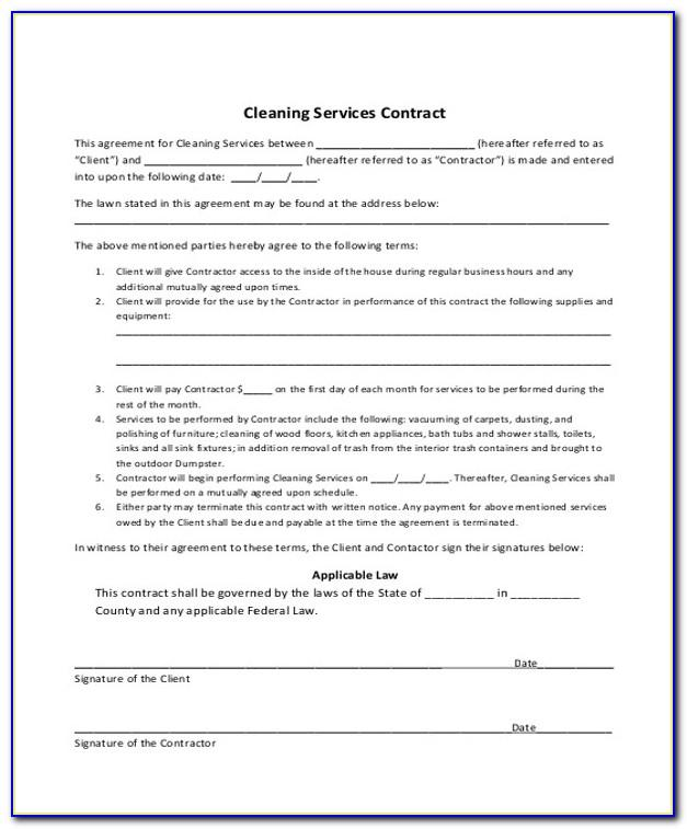 Residential Cleaning Service Contract Template