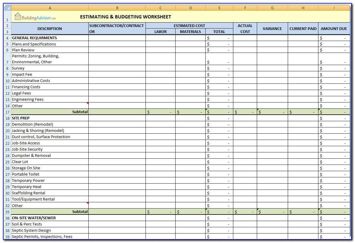 Residential Construction Estimating Template Excel