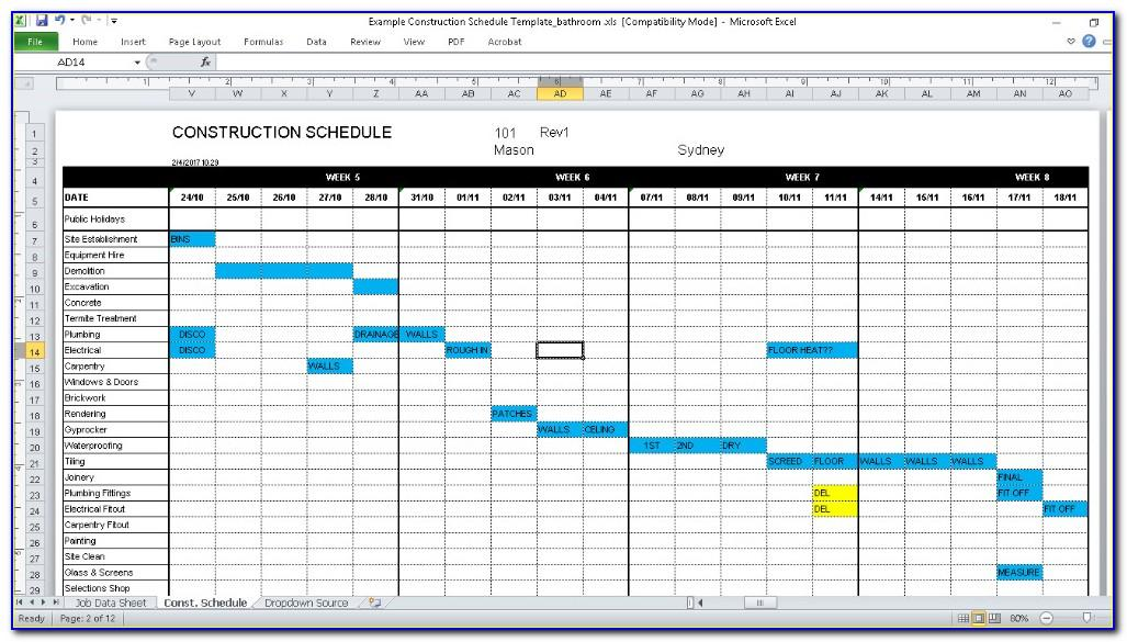 Residential Construction Schedule Template Download
