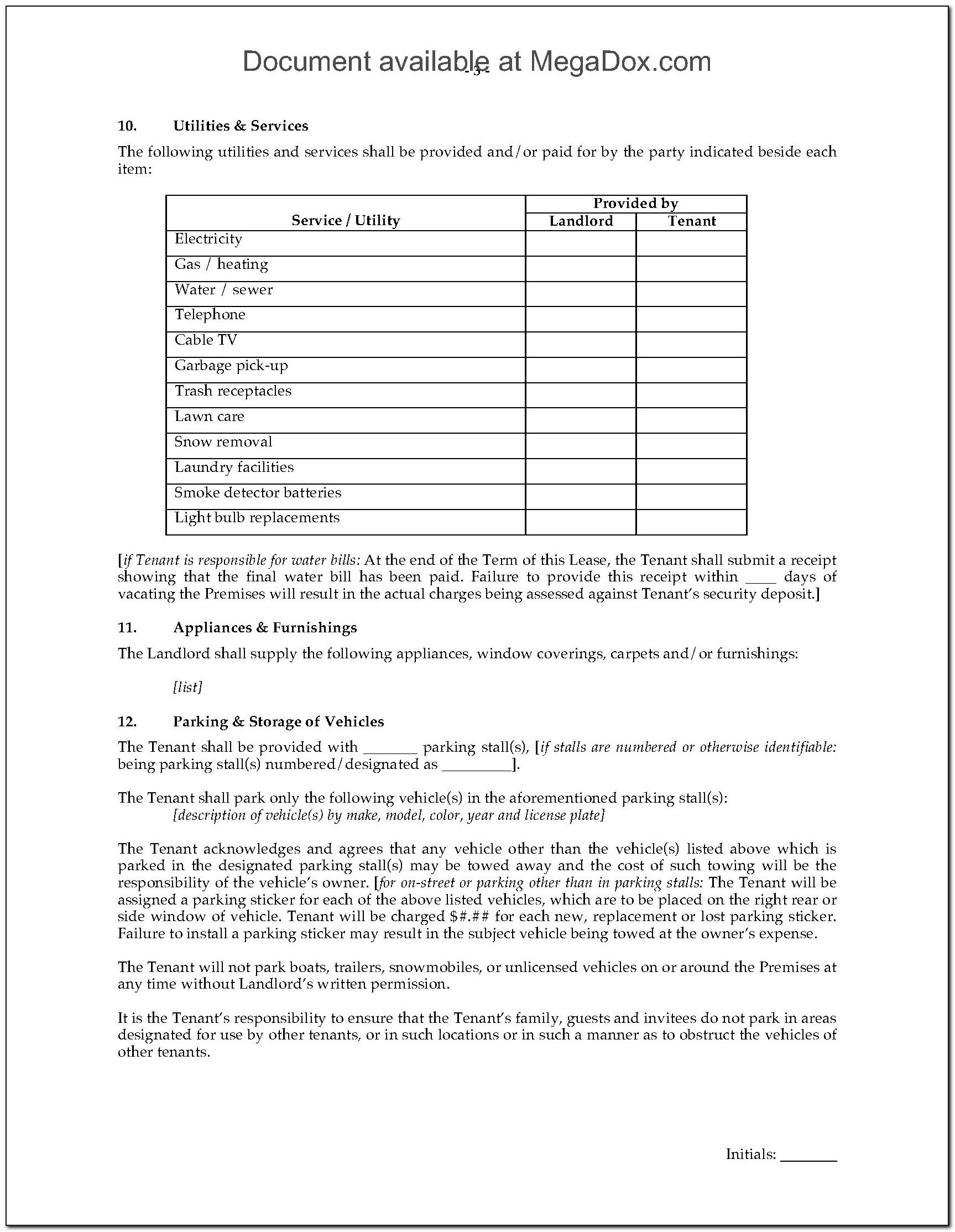 Residential Lease Agreement Form 400