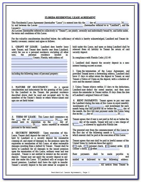 Residential Lease Agreement Form Nevada