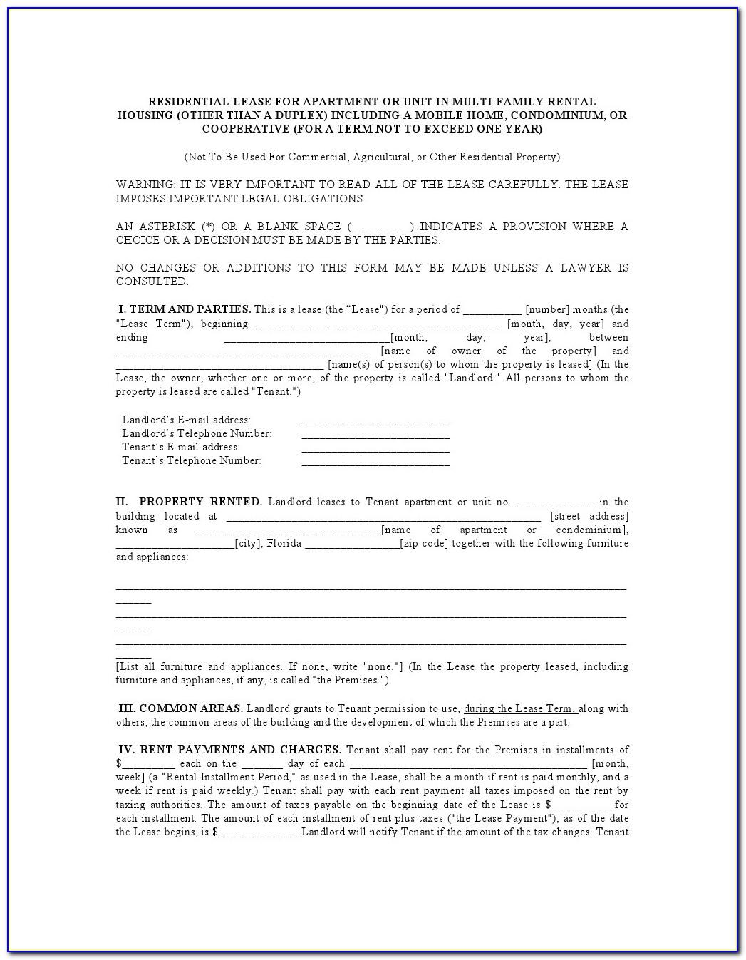 Residential Lease Agreement Form Quebec
