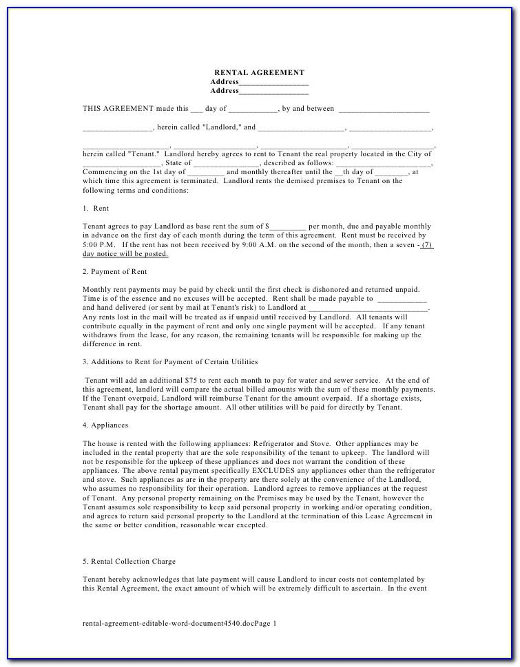 Residential Lease Agreement Ms Word