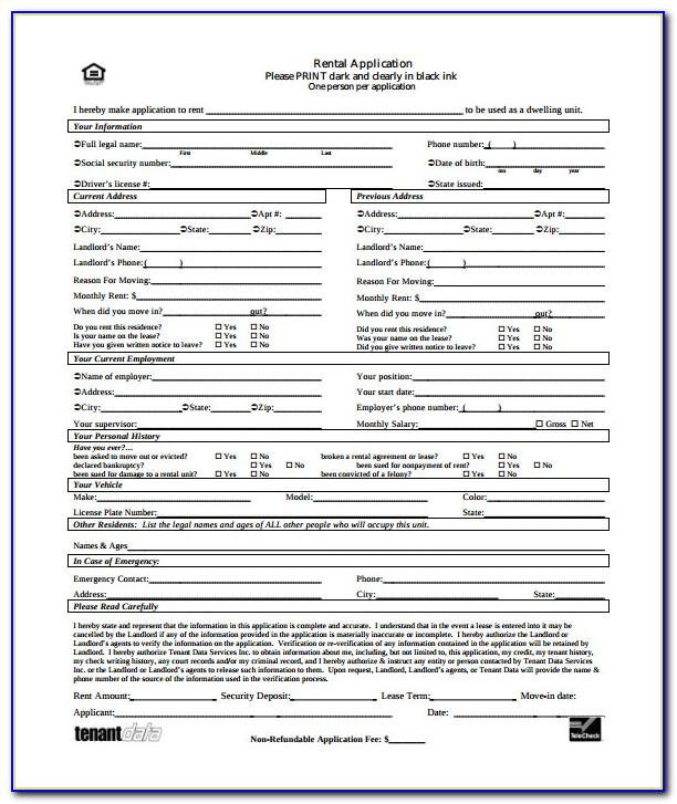 Residential Lease Application Form Texas