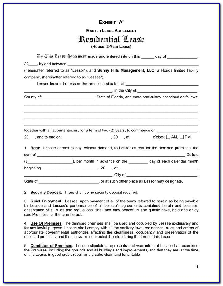 Residential Lease Contract For Texas