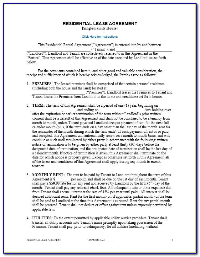 Residential Lease Document Template