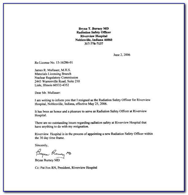 Resign Letter Format Sample Free