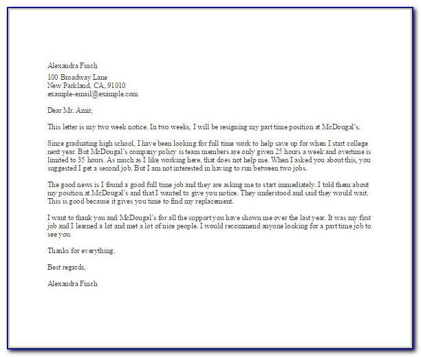 Resign Letter Sample Personal Reason