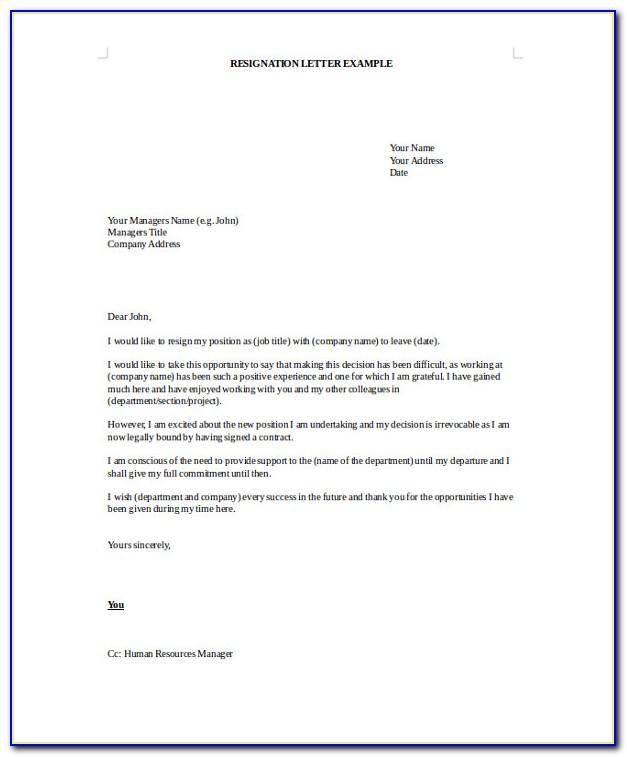 Resignation Letter Example Personal Reasons