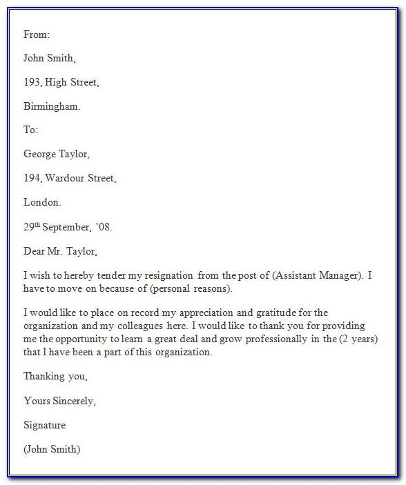 Resignation Letter Examples Free Download