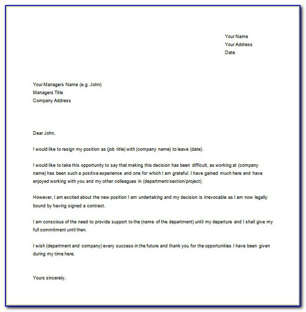 Resignation Letter Format Free Download