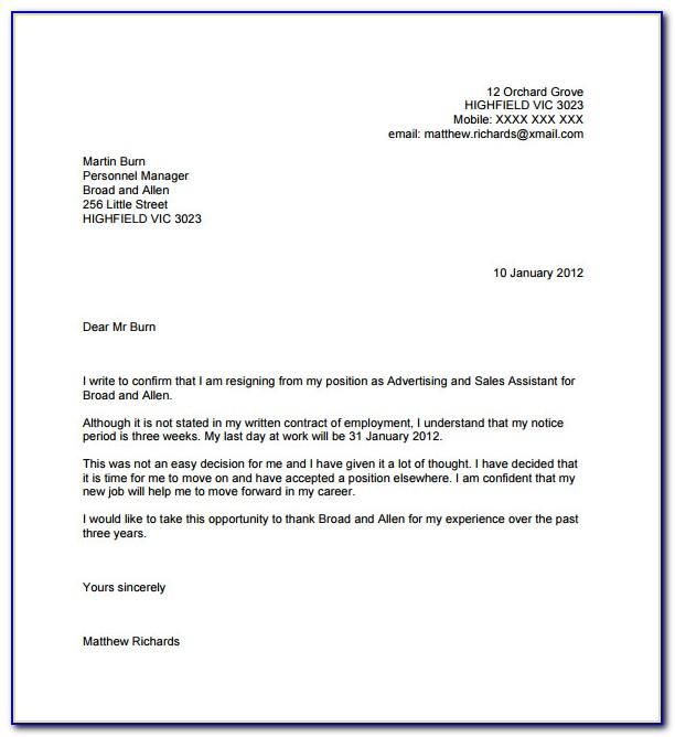 Resignation Letter Format In English Free Download