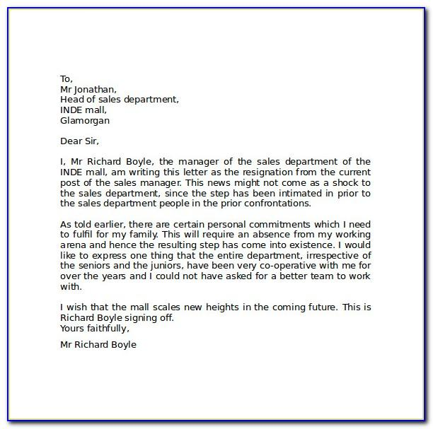 Resignation Letter Format In Word File Free Download