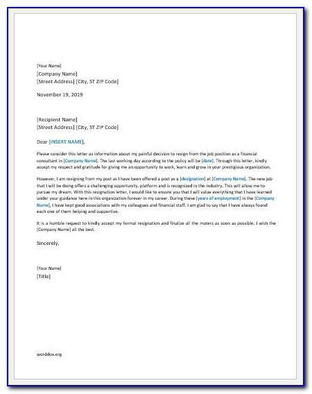 Resignation Letter Format Pdf In Hindi